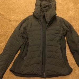Forest Green Lululemon jacket with removable hood